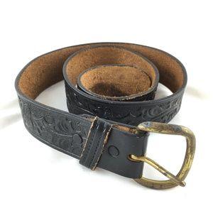 Accessories - Black leather belt tooled brass buckle steerhide